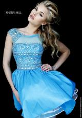 Sherri Hill Short 32267.  Available in Blush, Emerald, Fuchsia, Red, Royal, Turquoise