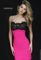 Sherri Hill Short 32285.  Available in Black, Black/Fuchsia, Black/Red