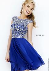 Sherri Hill Short 32320.  Available in Black, Gunmetal, Navy, Nude, Peacock, Purple, Teal, Wine