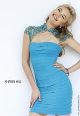 Sherri Hill Short 32328.  Available in Ivory, Red, Royal, Turquoise
