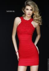 Sherri Hill Short 32330.  Available in Black, Fuchsia, Ivory, Red