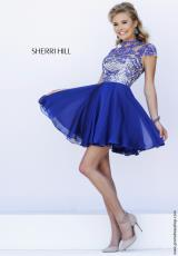 Sherri Hill Short 1938.  Available in Black, Blue, Bronze, Gunmetal, Light Blue, Lilac, Navy, Ruby, Teal