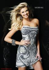 Sherri Hill Short 2537.  Available in Brown/Turquoise, Ivory/Gold, Pink, Silver