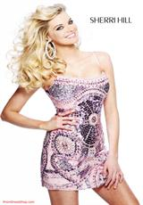 Sherri Hill Short 2537.  Available in Brown/Turquoise, Pink
