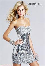 Sherri Hill Short 2796.  Available in Black, Brown, Navy/Gunmetal, Nude, Silver