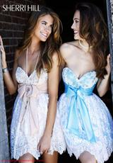 Sherri Hill Short 2841.  Available in Black/Nude, White/Lt Blue