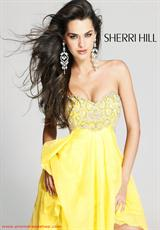 Sherri Hill Short 3834.  Available in Aqua, Black, Coral, Dark Purple, Fuchsia, Green, Lilac, Orange, Red, Turquoise, Yellow