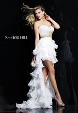 Sherri Hill 3835.  Available in Aqua, Fuchsia, Light Orange, Lime, White/Gold