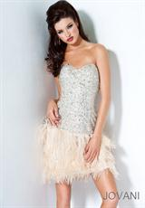 Jovani Cocktail 4437.  Available in Coral, Sand