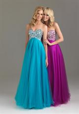 2014 Night Moves Long Tulle 6411 Prom Dress