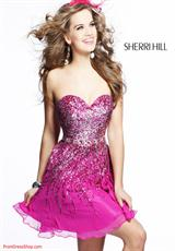 Sherri Hill Short 8413.  Available in Aqua/Silver, Black/Silver, Brown/Silver, Green/Gold/Silver, Gunmetal, Ivory/Silver, Magenta/Silver, Navy/Silver, Purple/Silver, Royal/Silver, Strawberry