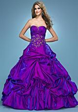 Landa Quinceanera AQ07.  Available in Fuchsia, Paris Blue, Peony, Purple, Red, Tangerine, Yellow