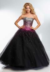 Mori Lee 95128.  Available in Blk/Bronze, Blk/Fuchsia, Blk/Turquoise