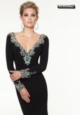 Mori Lee 97121.  Available in Black/Turquoise, Vanilla/Turquoise