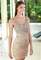 Alyce Short 4300.  Available in Blue Radiance, Nude/Silver