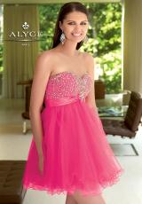 Alyce Short 4310.  Available in Fuchsia/Orange, Purple, Turquoise