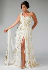 Fabulouss Plus Size 6321F.  Available in Ivory/Gold, Purple/Gold