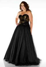 Fabulouss Plus Size 76483F.  Available in Black/Gold