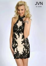 JVN by Jovani JVN99964.  Available in Black/Nude, Nude/Black, Nude/Fuchsia