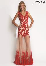Jovani 88299.  Available in Black/White, Nude/Red