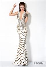Jovani 9420.  Available in Ivory/Gold
