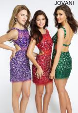 Jovani Cocktail 93076.  Available in Gold, Hunter, Purple, Red