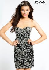 Jovani Cocktail 98512.  Available in Black/Silver