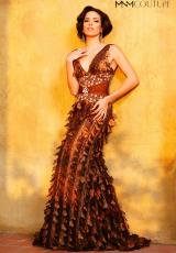 2014 MNM Couture Brown Fitted Prom Dress 6824