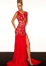 MacDuggal 61041R.  Available in Aqua/Nude, Black/Nude, Blush/Ivory, Emerald/Nude, Ivory/Nude, Lemon, Red/Nude, Sapphire