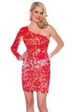 MacDuggal Cocktail 61381R.  Available in Red/Nude, Smoke/Nude