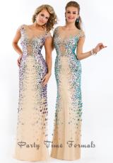 Party Time Formals 6440.  Available in Nude/Purple, Nude/Turquoise