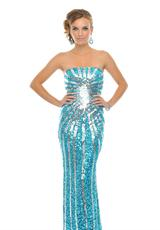 Precious Formals P8799.  Available in Crystal Red, Gold/Brown, New Turquoise/Silver