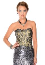 Precious Formals L55239.  Available in Pewter/Nude
