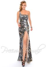 Precious Formals P9067C.  Available in Pewter/Nude, Red/Nude