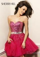 Sherri Hill Short 2787.  Available in Aqua/Pink, Black/Black/Gunmetal, Blue, Fuchsia, Navy/Gunmetal, Pink, Red, Silver, White