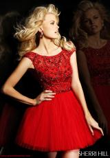 Sherri Hill Short 2814.  Available in Blush/Silver, Coral, Light Pink, Navy/Multi, Nude, Red/Red, Yellow/Silver