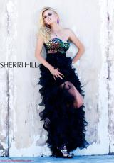 Sherri Hill 2921.  Available in Black/Multi, Green, Purple