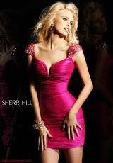 Sherri Hill Short 2945.  Available in Black, Fuchsia, Gold, Purple, Turquoise