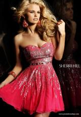 Sherri Hill Short 8413.  Available in Aqua/Silver, Black/Silver, Brown/Silver, Coral/Silver, Green/Gold/Silver, Gunmetal, Ivory/Silver, Magenta/Silver, Navy/Silver, Nude, Pink/Gold, Purple/Silver, Royal/Silver, Strawberry, Yellow