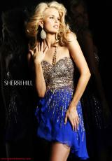 Sherri Hill Short 8443.  Available in Black, Fuchsia, Green, Gunmetal, Ivory, Lilac, Navy, Nude, Peach, Pink, Royal, Strawberry, Yellow