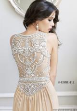 Sherri Hill 11069.  Available in Aqua/Silver, Navy/Gunmetal, Nude/Silver, Red/Nude
