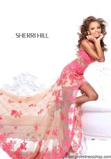 Sherri Hill 21161.  Available in Black/Nude, Coral/Nude, Hot Pink/Nude, Ivory/Nude, Red/Nude