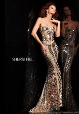 Sherri Hill 2813.  Available in Aqua/Silver, Coffee, Ivory/Gold/Silver, Lilac, Nude/Silver