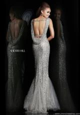 Sherri Hill 4802.  Available in Gunmetal, Navy