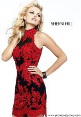 Sherri Hill Short 21186.  Available in Aqua/Nude, Black/Nude, Black/Red, Blush/Nude, Ivory/Nude, Navy/Nude, Red/Nude