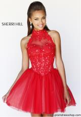 Sherri Hill Short 21193.  Available in Black/Nude, Blush/Nude, Ivory/Nude, Navy/Nude, Red/Nude, Turquoise