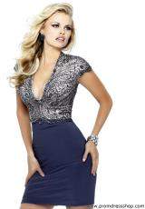 Sherri Hill Short 21208.  Available in Black, Gunmetal, Ivory, Navy, Red