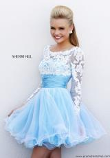 Sherri Hill Short 21234.  Available in Blue/Ivory, Ivory/Nude, Pink/Ivory, Red