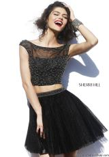 Sherri Hill Short 32053.  Available in Black/Gunmetal, Nude/Gunmetal, Nude/Navy, Purple/Gunmetal