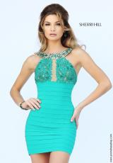 Sherri Hill Short 32240.  Available in Emerald, Ivory, Navy